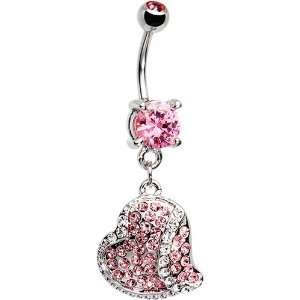 Pink Cubic Zirconia Paved Heart Belly Ring Jewelry