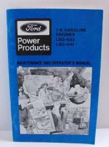 Ford Power Products Industrial Engine Operator Manual 1 6 Gas LSG 633