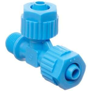 Compression Tube Fitting, Tee Adapter, Blue, 8 mm Tube OD x 8 mm Tube
