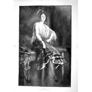 1902 Antique Portrait Beautiful Lady Gitane Lavrut Art