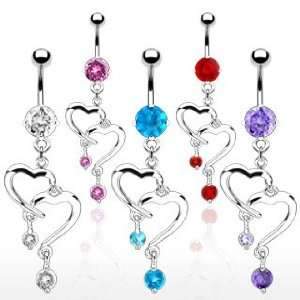 Fancy Belly Ring with Tanzanite Cubic Zirconia and Double Heart Dangle