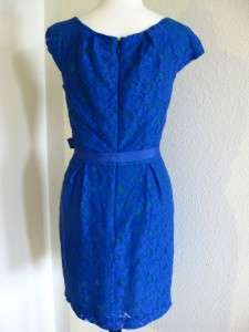 NEW$248 BCBG MAX AZRIA RORY LACE Cap Sleeve Belt COCKTAIL DRESS Blue