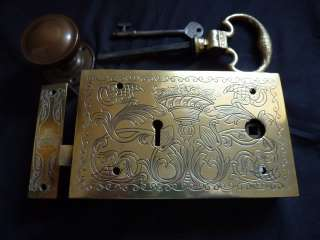 Outstanding Ornate Engraved Antique Victorian Brass Rim lock, Keep