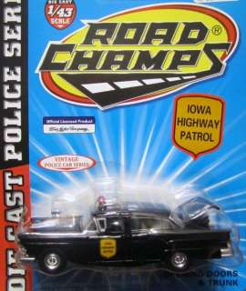 Iowa State Patrol Police Trooper 1957 Ford Fairlane Road Champs