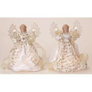 Set of 2 Gold and White Lighted Merry Christmas Angel Tree Toppers