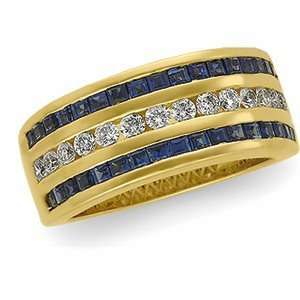 Gold Sapphire & Diamond Bridal Anniversary Band Ring Size 6.0 Jewelry