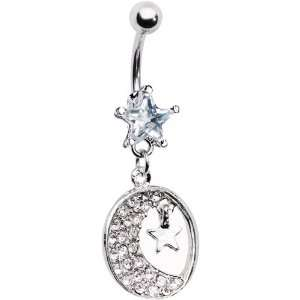 Clear Gem Crescent Moon Star Belly Ring Jewelry