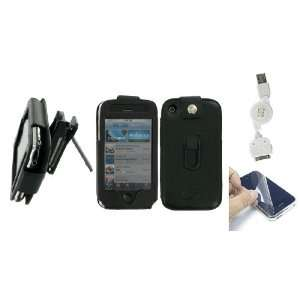 Apple iPhone 3G   Black Premium Leather Case with Removable Video