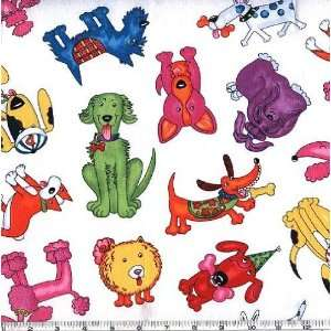 Wide Colorful Dogs White Fabric By The Yard Arts, Crafts & Sewing