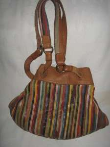 LUCKY BRAND LEATHER PATCHWORK STRIPS SLOUCH DRAWSTRING HOBO BAG PURSE