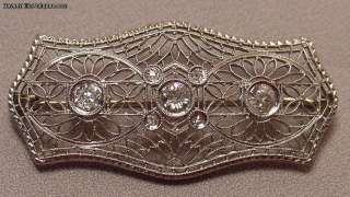 Antique Art Deco 14k WG Diamonds Filigree Brooch