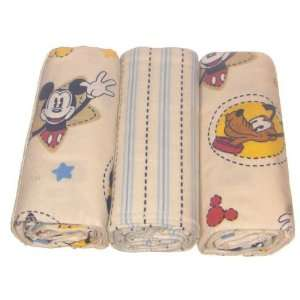Disney Star Shine Mickey Flannel Blanket 3 Pack Baby
