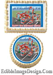 FIRE STATION TRUCK CITY Edible Party Birthday Cake Image Cupcake