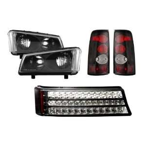 03 06 Chevy Silverado Black Headlights + LED Parking Lights + Tail