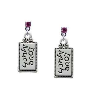 Love Much Hot Pink Swarovski Post Charm Earrings Arts