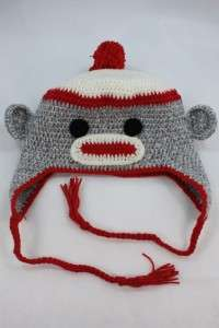 NEW GREY BABY SOCK MONKEY KNIT CROCHET HAT HANDMADE