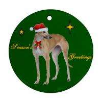 GREYHOUND DOG CHRISTMAS XMAS PORCELAIN ORNAMENT GIFT