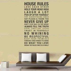House Rules Wall Paper&Art viny Motto Removable Sticker YW10 high120