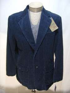 VTG IZOD Rock Washed L Coat Corduroy Cotton Button Denim Navy Blue