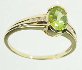LADIES 14K SOLID YELLOW GOLD PERIDOT DIAMOND AUGUST GEMSTONE ESTATE