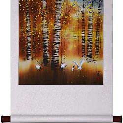Cranes and Birch Trees Wall Art Scroll Painting (China)