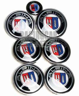 BMW ALPINA WHEEL CENTER CAPS + HOOD TRUNK EMBLEM 7PCS