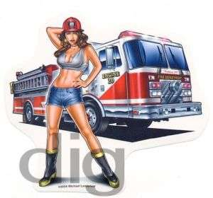 Sexy FIREFIGHTER PINUP GIRL & Fire Truck Sticker/Decal