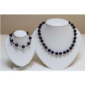 Dark purple glass beads with light purple Czech Beads