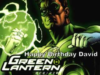 Green Lantern Edible Cake Image Topper 1/4 Sheet