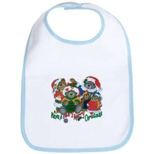 Baby Bib Sky Blue Have A Beary Merry Christmas Bears