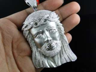 BRAND NEW MENS WHITE GOLD FINISH JESUS FACE PENDANT REAL DIAMOND CROSS
