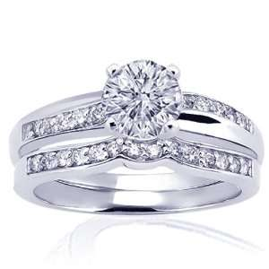 0.95 Ct Round Diamond Engagement Wedding Rings Pave Set