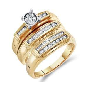 Diamond Rings Set Engagement Wedding Bands Yellow Gold Men