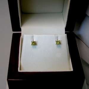 25 CTW VS2 CANARY YELLOW PRINCESS DIAMOND STUD EARRINGS 14K SOLID