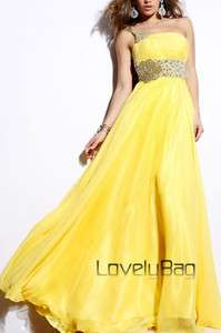 2012 Yellow Organza Beaded Empire One shoulder Formal Prom Gown