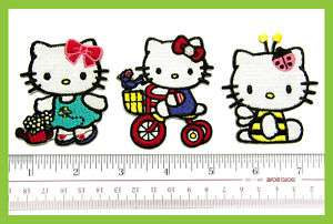 3pc Hello Kitty Embroidery Iron on Patch Bee Cycling