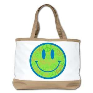 Shoulder Bag Purse (2 Sided) Tan Smiley Face With Peace