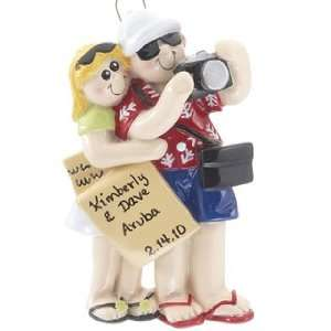 Personalized Travel Couple Christmas Ornament