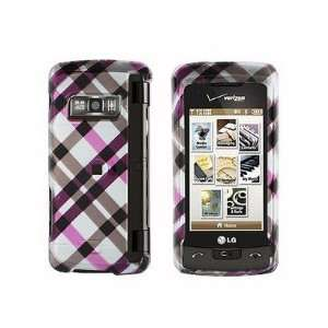 Snap On Plastic Phone Design Case Cover Hot Pink Plaid For