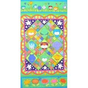 44 Wide Zoo Parade Flannel Zoo Babies Panel Green Fabric