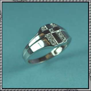 NEW 10K GOLD MENS GENUINE DIAMOND CROSS RING