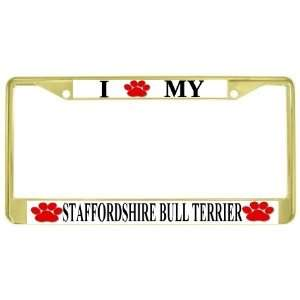My Staffordshire Bull Terrier Paw Prints Dog Gold Metal License Plate