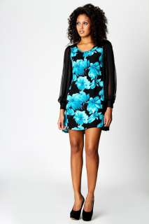 Sale  Dresses  Betsy Bold Floral Chiffon Sleeve Dress