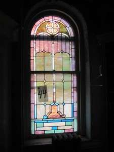 VICTORIAN ANTIQUE PAIR OF STAINED GLASS WINDOWS JB44