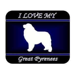 Love My Great Pyrenees Dog Mouse Pad   Blue Design