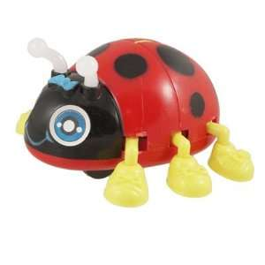 Yellow Feet Red Black Plastic Running Ladybug Wind up Toy for Children