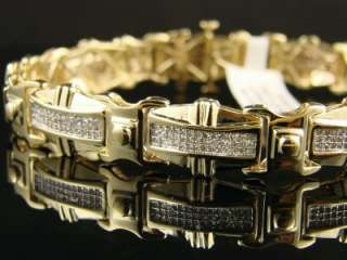 MENS XL ICY YELLOW GOLD DIAMOND BRACELET BANGLE 2.15 CT