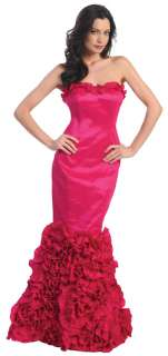 Red Carpet Long Formal Gown Prom Ball Homecoming Wedding Event Ruffled