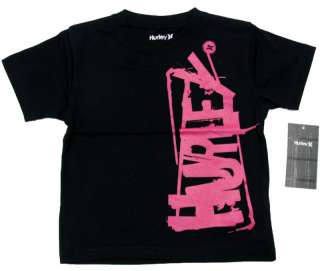 HURLEY Black/Pink Ladder Tee Shirt Toddler Boys NWT