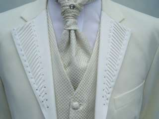 MENS ITALIAN DESIGNER WEDDING DRESS IVORY SUIT OUTFIT